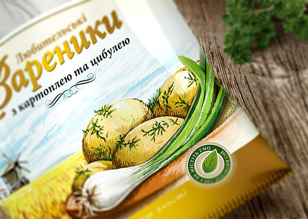 Дизайн упаковки вареників з картоплею та цибулею
